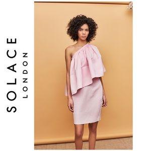 Solace London Pink Layci Ruffle Dress sz 8 EUC